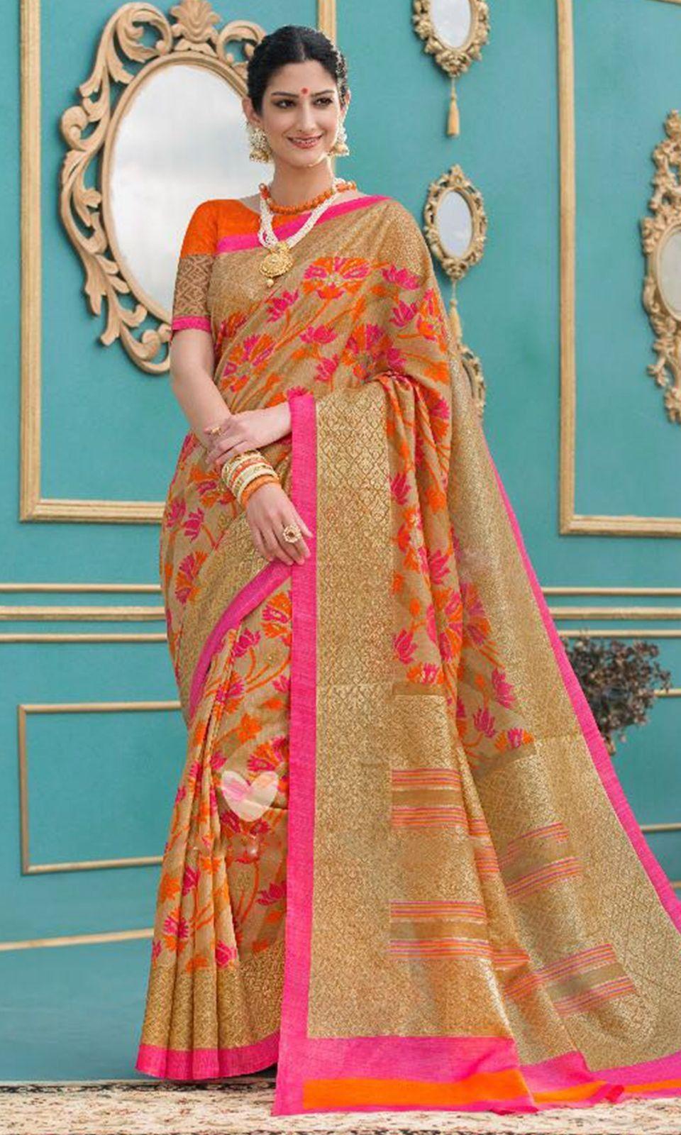 07001a300b179a Shop  Beige and  Orange Foil  Embroidered Silk  Saree (SKU Code    SAEBRVSD4909) Online at IshiMaya Fashion