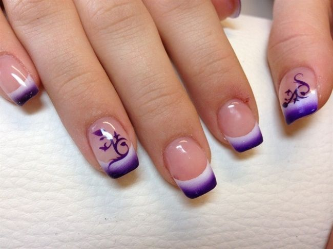 Airbrushed Nail Art For French Nails Top 10 French Nail Art Designs 2015 For Girls Fancystyless Com Airbrush Nails French Tip Nail Designs French Nail Designs