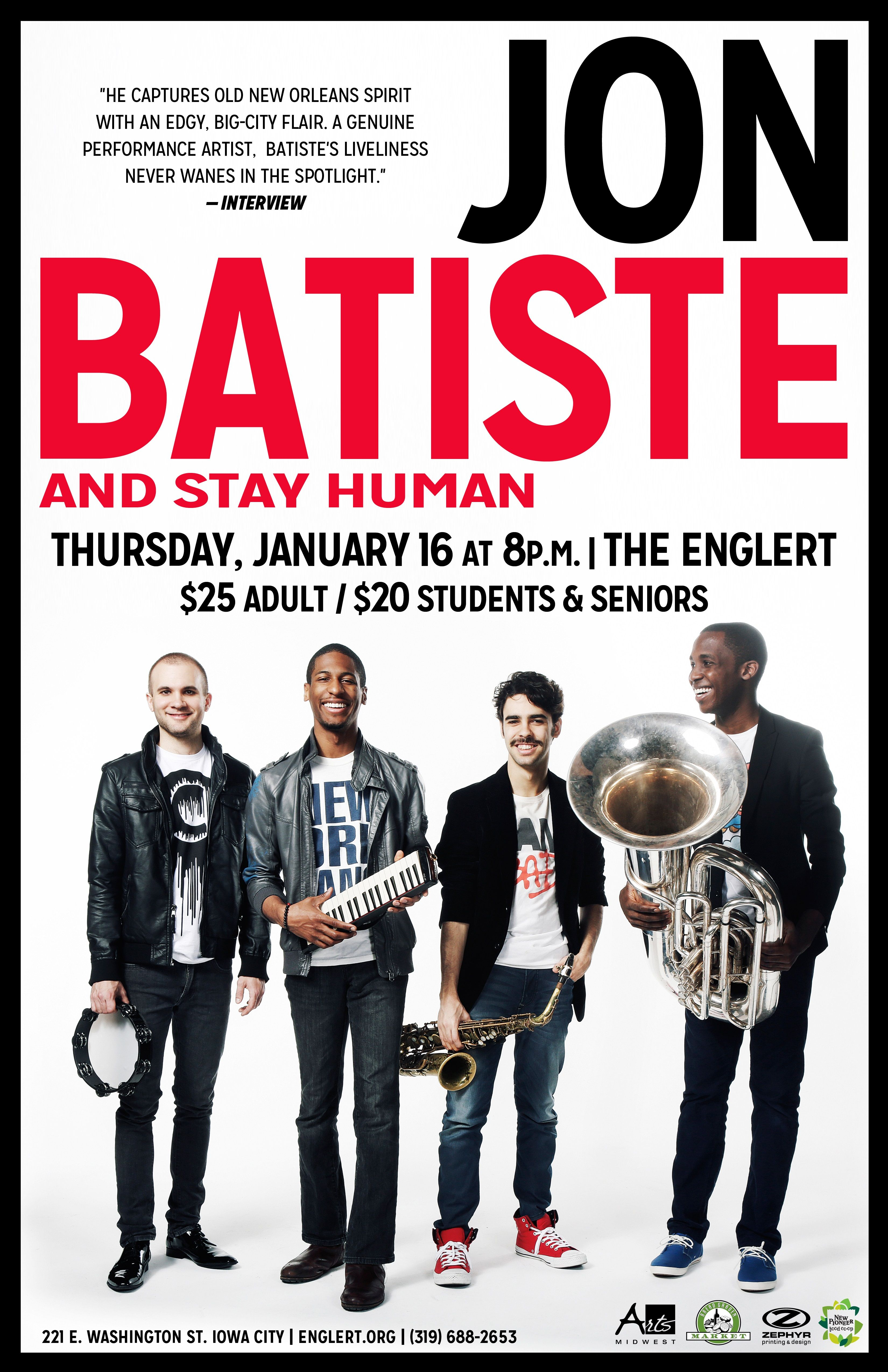 Jon Batiste and Stay Human 1/16/14 | Show Posters | Pinterest