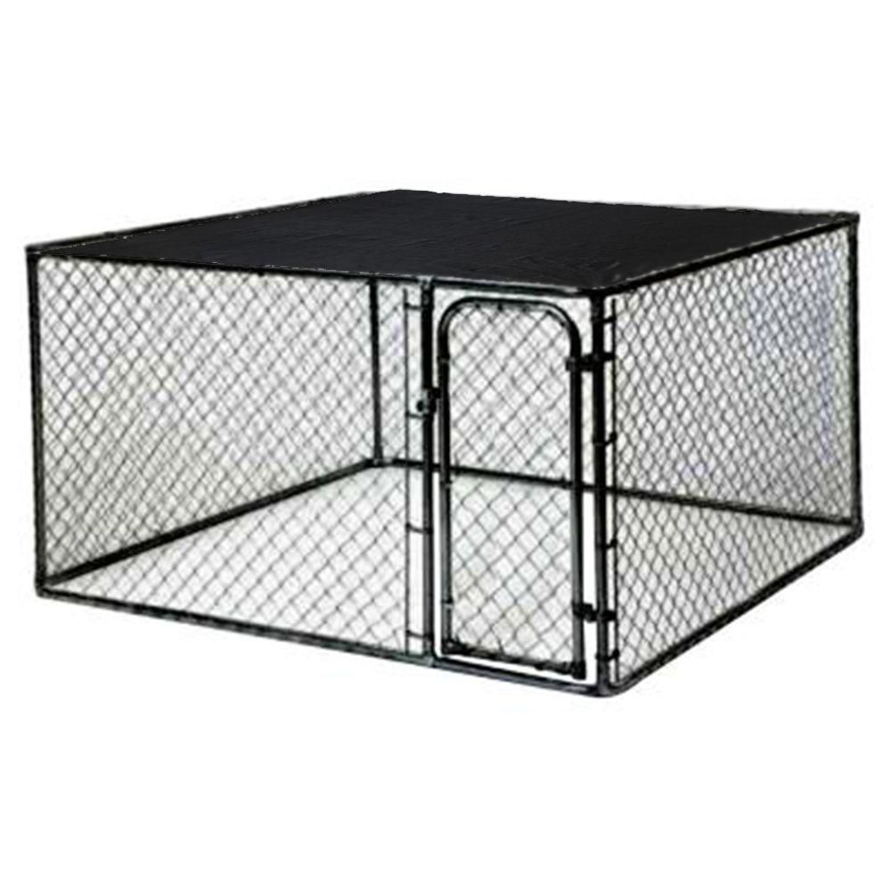 10 Ft X 5 Ft X 6 Ft Black Powder Coated Chain Link Boxed Kennel Kit Dog Kennel Dog Kennel Outdoor Dog Crate