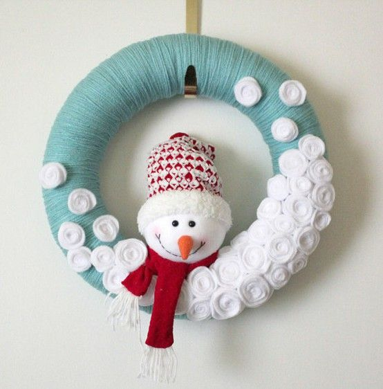 snowman yarn wreath Winter Wonderland Theme