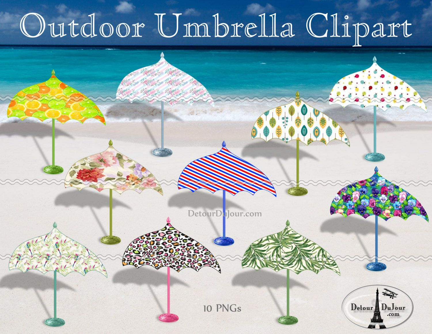 Tropical Beach Umbrella Clipart, 10 DIGITAL Umbrellas ...