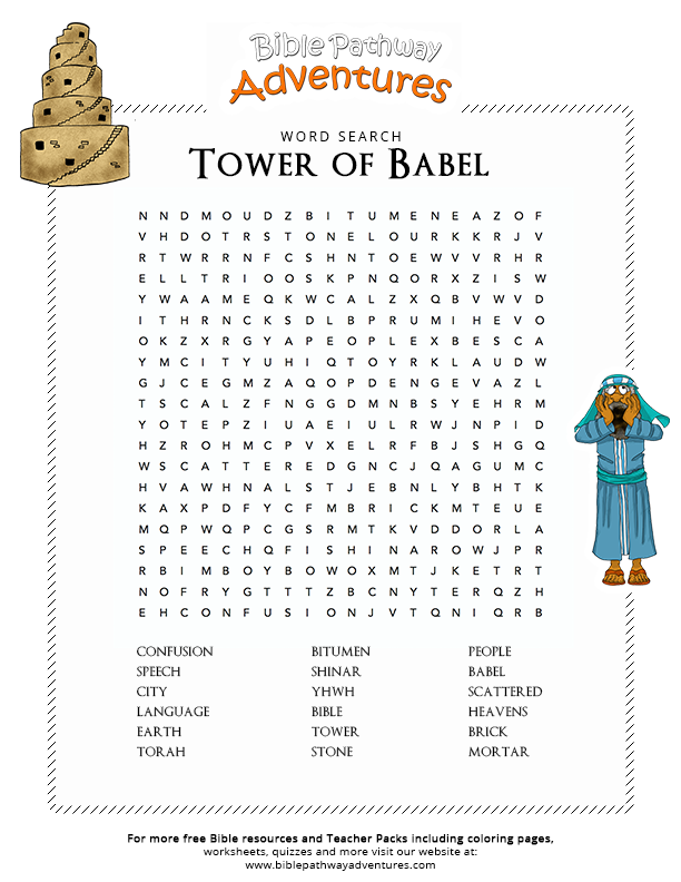 Bible Word Search Tower Of Babel Sunday School Tower Of
