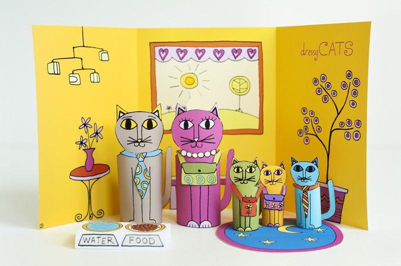 Dressy Cats. Free Printable Fun!