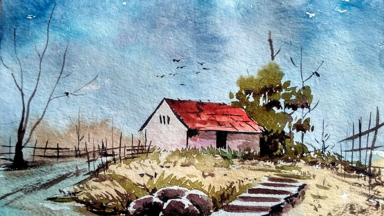 Watercolor painting for beginners village house for Classic house tutorial