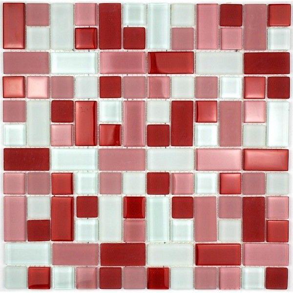 Carrelage Mosaique Verre Faience 1 Plaque Cubic Rouge Carrelage Mosaique Mur En Mosaique Faience Salle De Bain