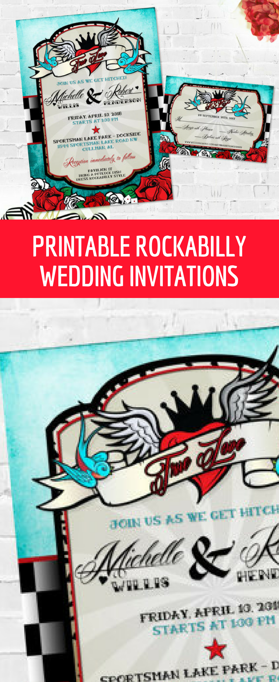 Printable rockabilly style wedding invitations, customized with your ...