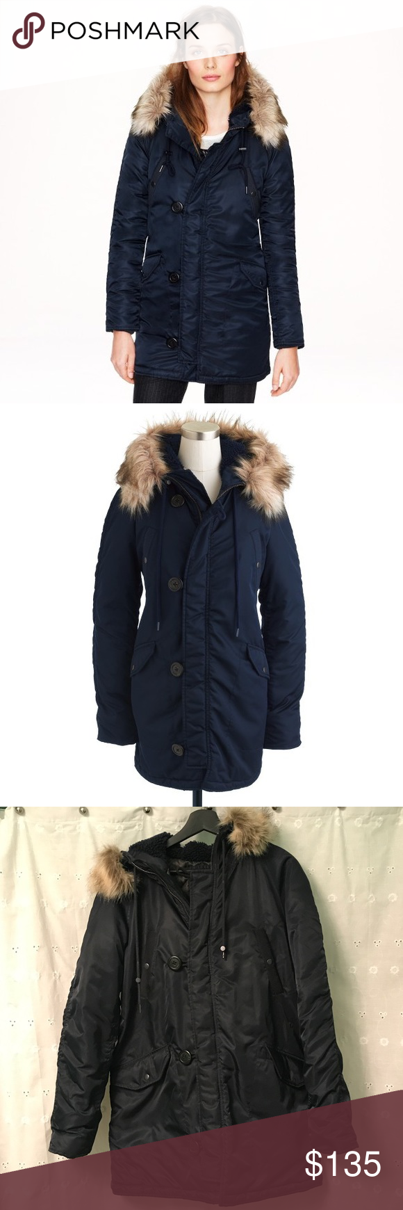 J. Crew Navy Blue Military Parka Coat Beautiful navy blue military ...