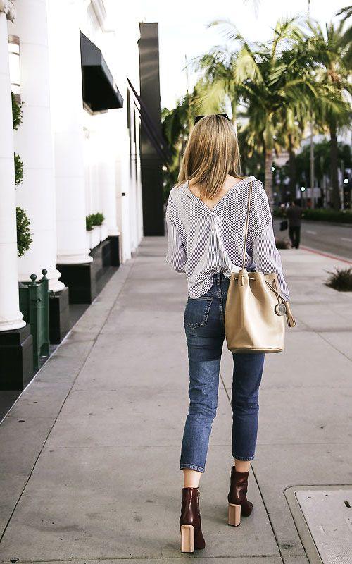 Bucket Bag Outfit - Backward Shirt, Denim Jeans