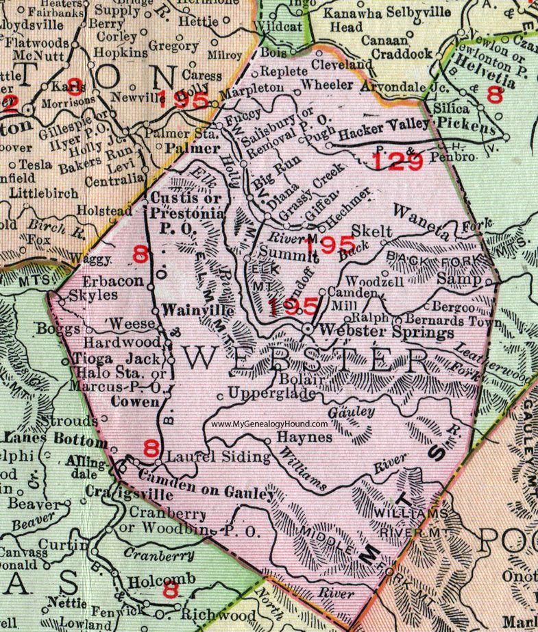 Webster County West Virginia Map Webster Springs Cowen - West virginia map