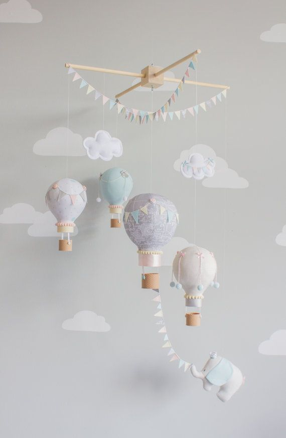 Hot Air Balloon Baby Mobile Elephant Nursery Decor, Travel Theme Nursrey Decor i138 #nurseryideas