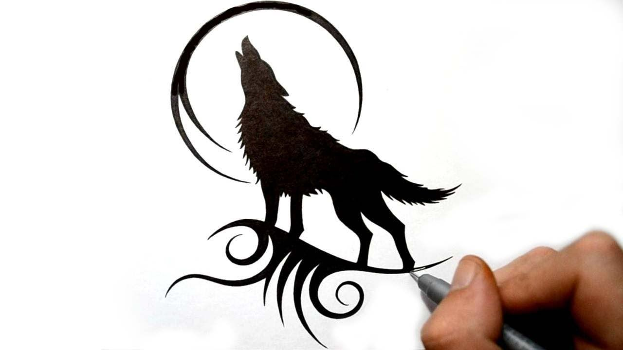 Drawing a Howling Wolf Silhouette - Black Tribal Tattoo ...