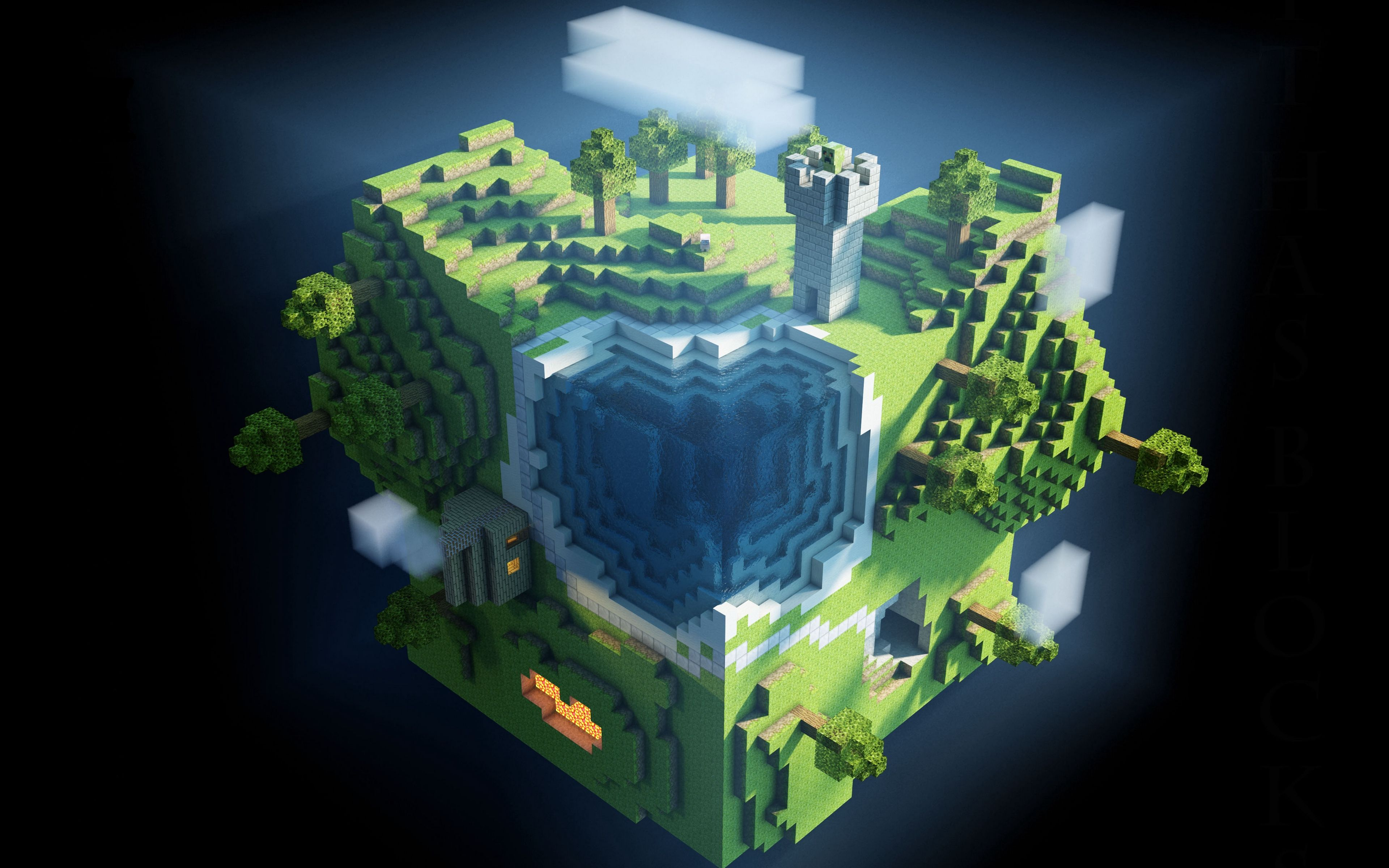 Download Wallpaper 3840x2400 Minecraft Planet Cube Cubes World 4k Ultra Hd 16 10 Hd Background Gambar Ipa