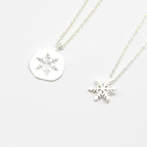 """17/"""" Silver-tone Chain 3 Color Choices Snowflake Pendent Necklace w Crystals"""