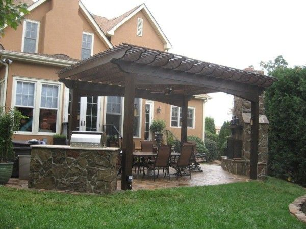 Image Of Impressive Patio Deck Shade Structure From Dark Wood Pergola With  Bronze