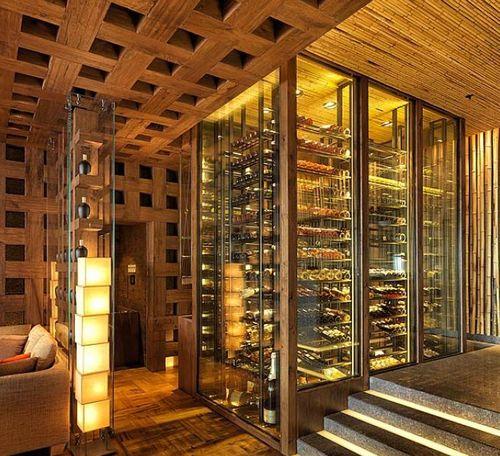 Commercial wine cellar / glass / integrated lighting ZUMA DMARLS RESTAURANT Focus Wine Cellars