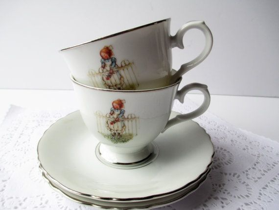 Vintage Teacup and Saucer Holly Hobbie Pattern by thechinagirl