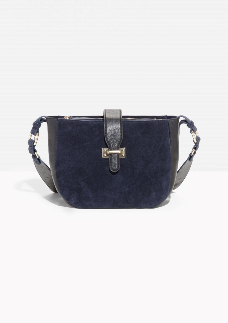 & Other Stories image 1 of Leather & Suede Crossover Bag in Blue