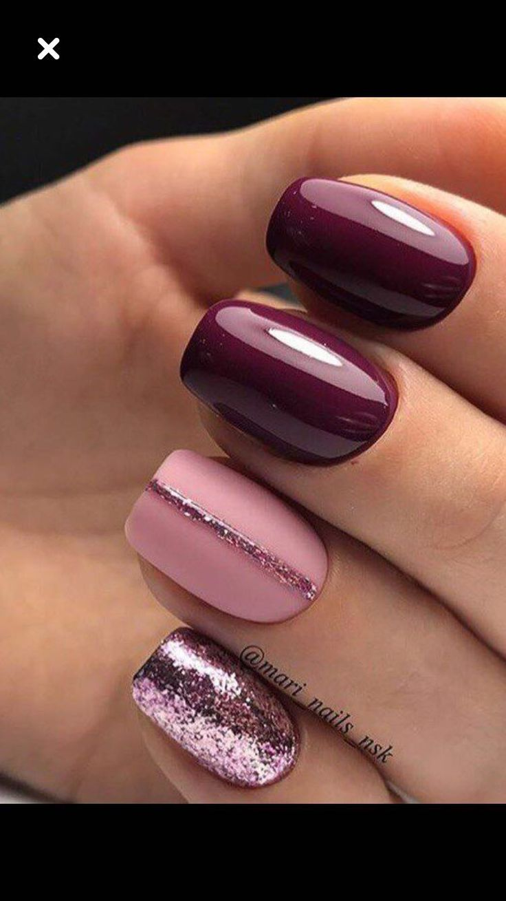 Mulberry Wine Shades Of Nail Polish French Manicure Gel Nails
