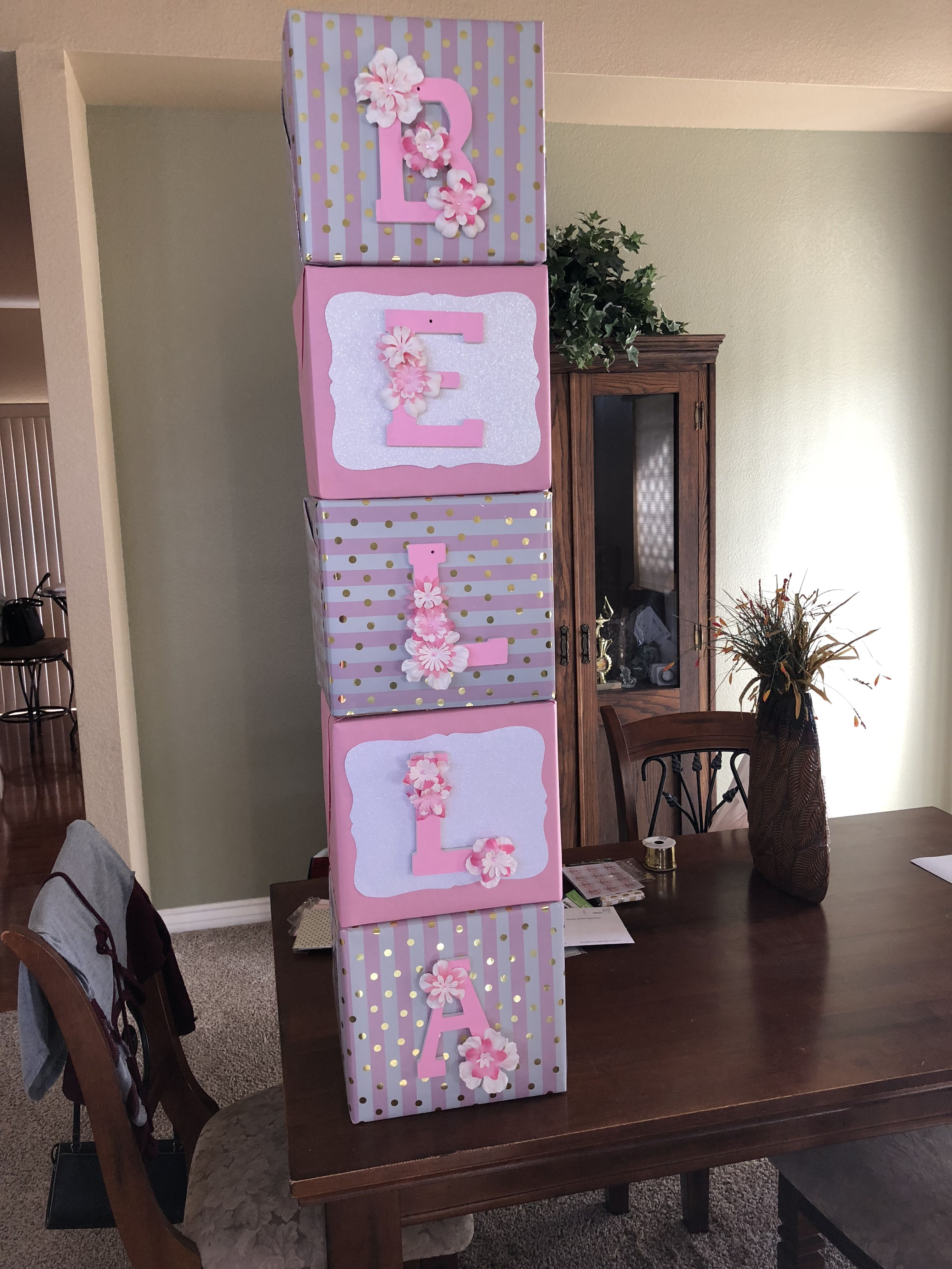 Name Blocks For Pink And Gold Theme Baby Shower Baby Shower