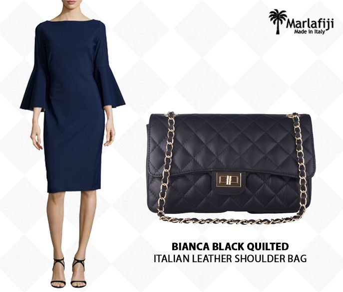 """We are loving this Chiara Boni Navy bell sleeve cocktail dress, party dress, work dress , meet the girls for lunch dress ... simple , elegant and time less match it with our time less Bianca B black Quilted Italian leather handbag... Get the Look !! http://www.marlafiji.com/sales/bianca-black-quilted-italian-leather-shoulderbag-detail.html www.marlafiji.com """"FREE SHIPPING WITHIN AUSTRALIA""""!! #Marlafiji #TopModel #Italianleatherhandbags"""
