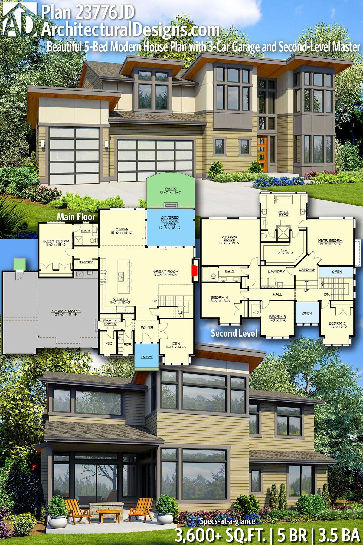 Plan 23776jd Beautiful 5 Bed Modern House Plan With 3 Car Garage And Second Level Master Modern House Plans House Plans Modern House Plan