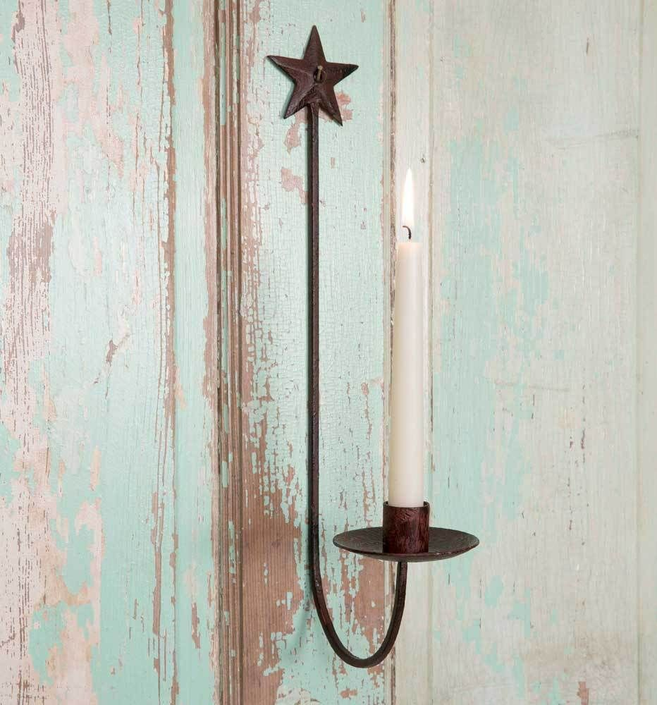 Cute farmhouse metal star wall candle sconce primitive
