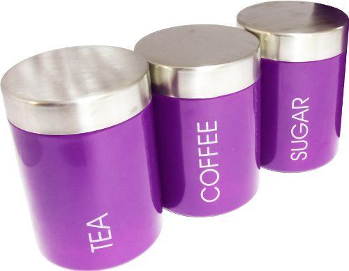 Set Of 3 Purple Tea Coffee Sugar Storage Canisters Kitchen Accessories Co Uk Home