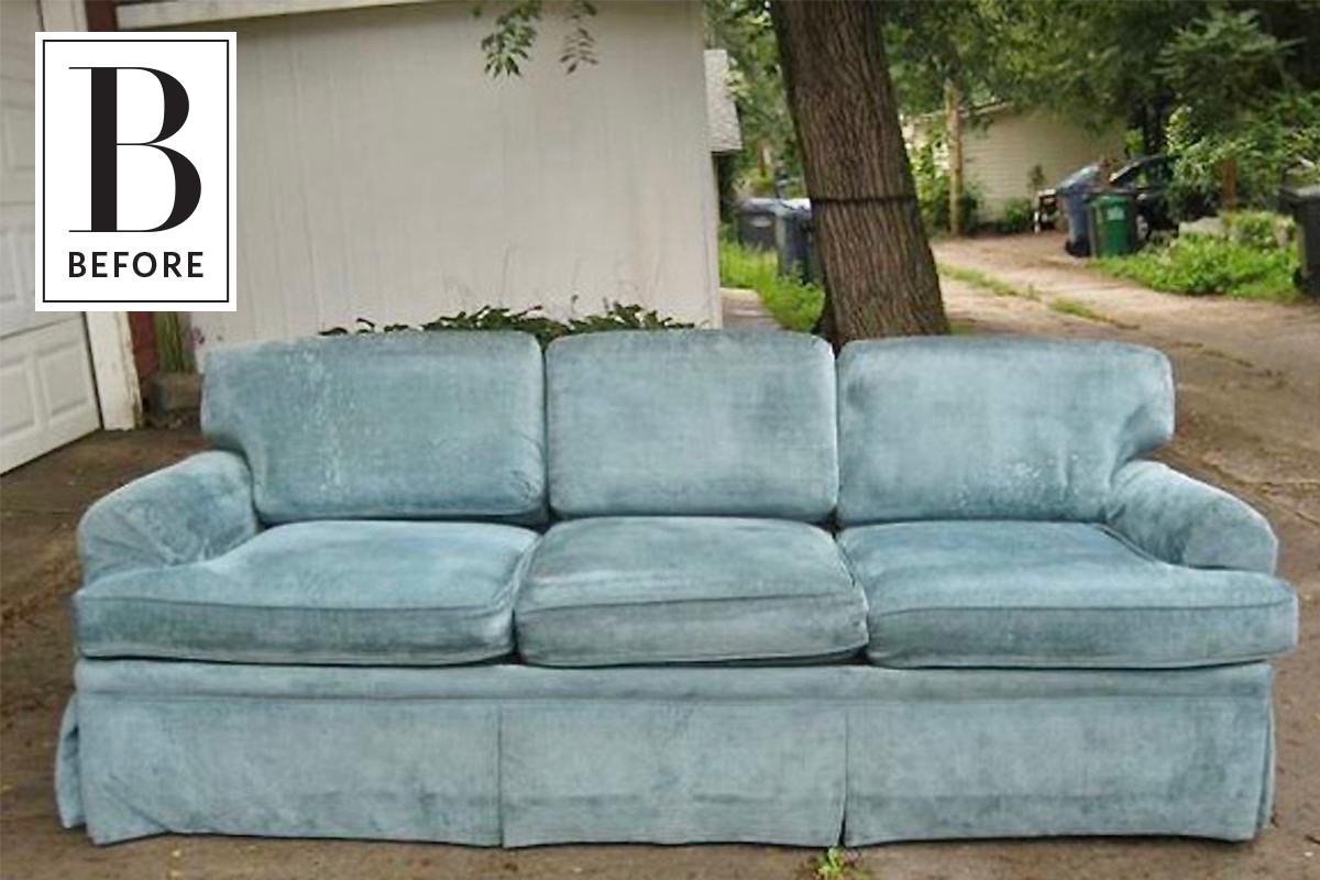 Before After An 80 Sofa Gets An Affordable And Easy Refresh Chenille Sofa Couch Fabric Sofa Makeover
