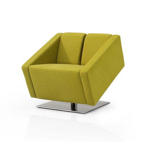 small office sofa. Modern Fabric Lounge Sofa / Stainless Steel Base Yellow Small Single Office Sofas O