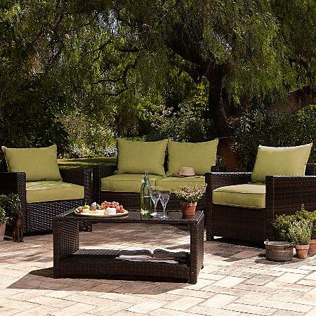 George Home Jakarta Deluxe Conversation Sofa Set in Olive Gren - 4 ...