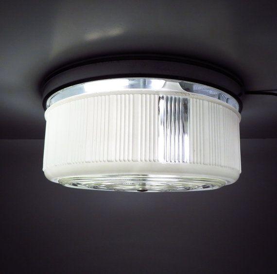 Mid Century Chrome And Gl Kitchen Ceiling Lamp Vintage Bathroom Bedroom Light Fixture By Vintagecreekside On Etsy