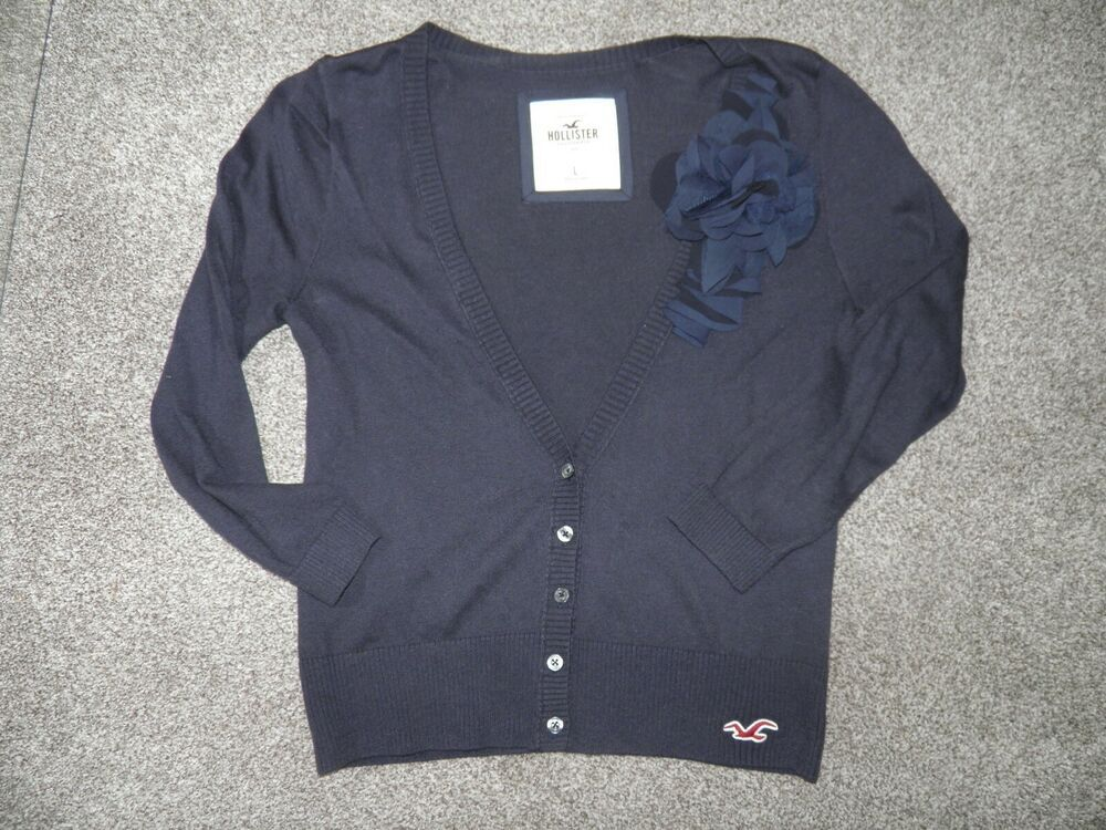 Ladies Hollister Medium Navy Blue Cotton Cardigan With
