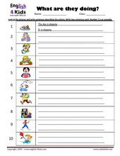 ESL Kids Worksheets Present Progressive Action Verbs Worksheets ...