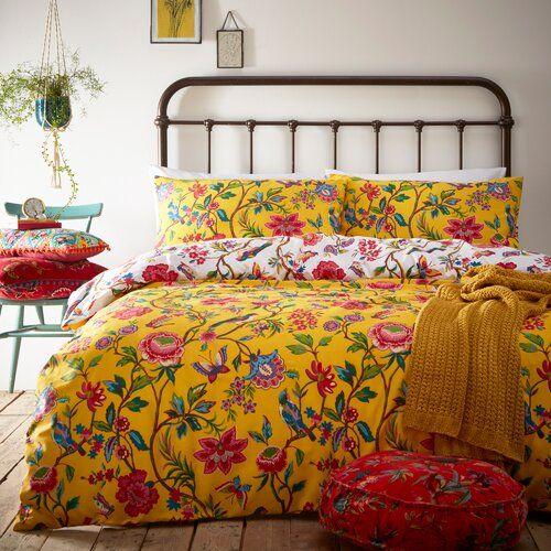Cavanagh Duvet Cover Set Latitude Vive Colour Yellow Size Double Duvet Sets Duvet Cover Sets Floral Duvet Cover