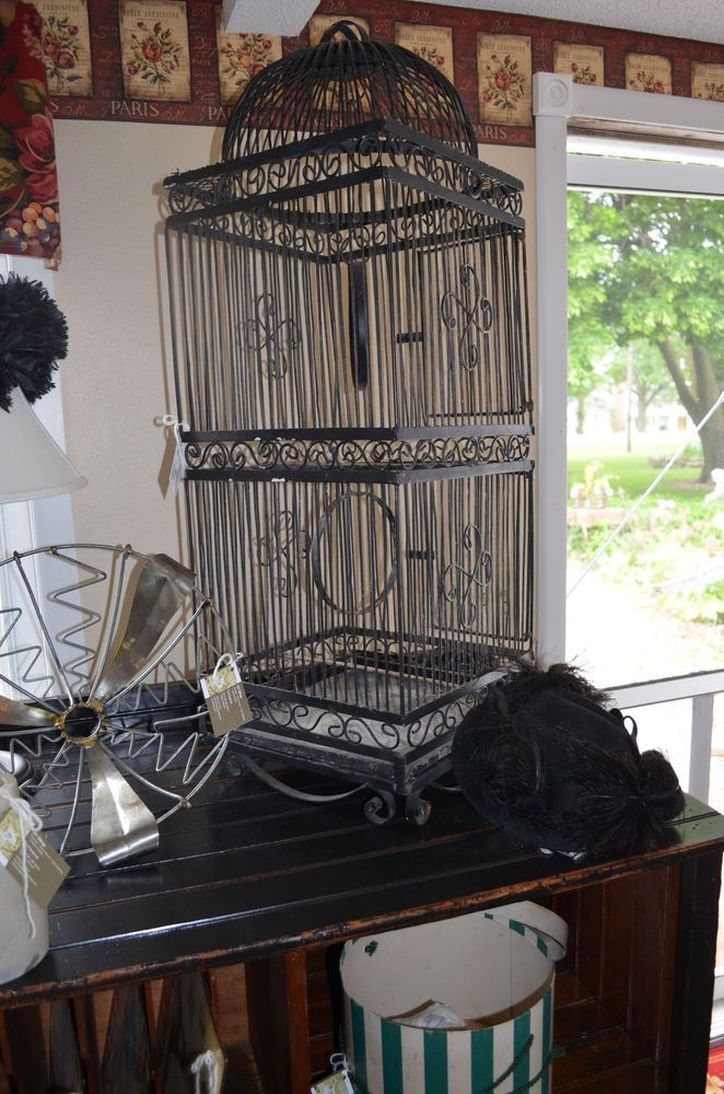 Black Antique Massive Iron Birdcage Victorian Porch Sunroom Floral