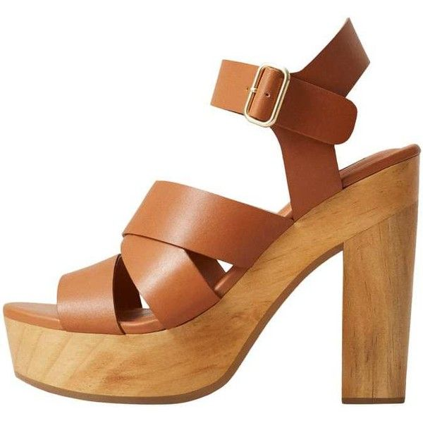 a8bbdf6322d MANGO Wooden leather sandals ($60) ❤ liked on Polyvore featuring ...