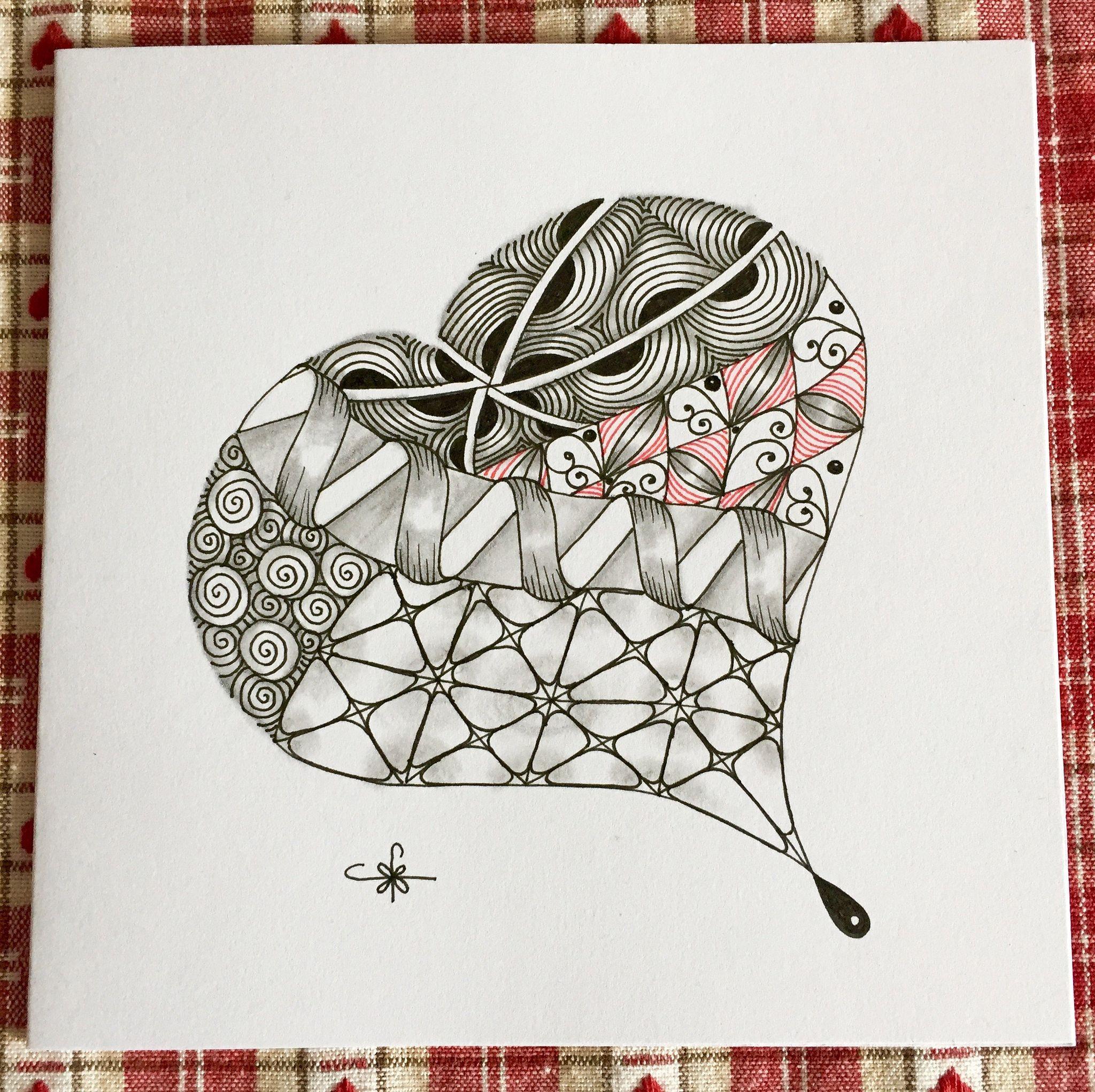 Pin On Zentangle Heart