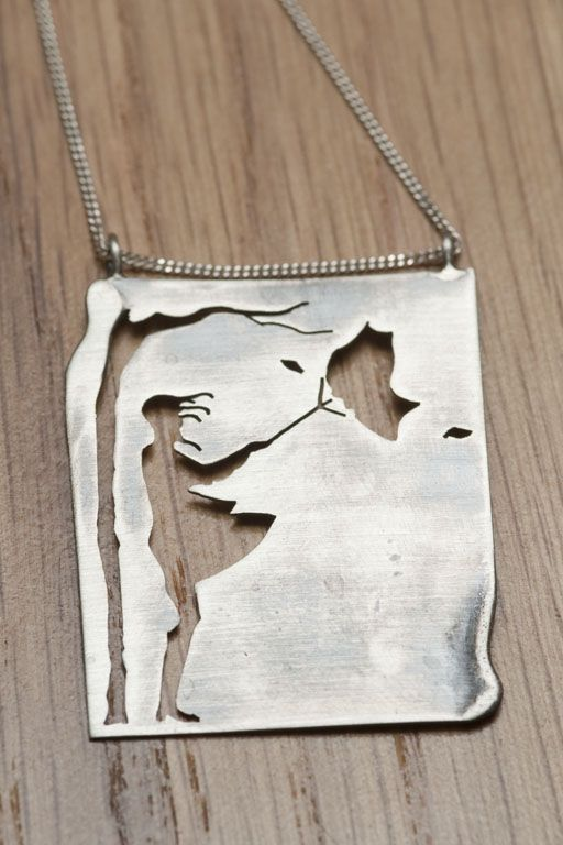 """Necklace   Natasha Wood.  """"Girl in the wind"""".  Oxidized and brushed sterling silver"""
