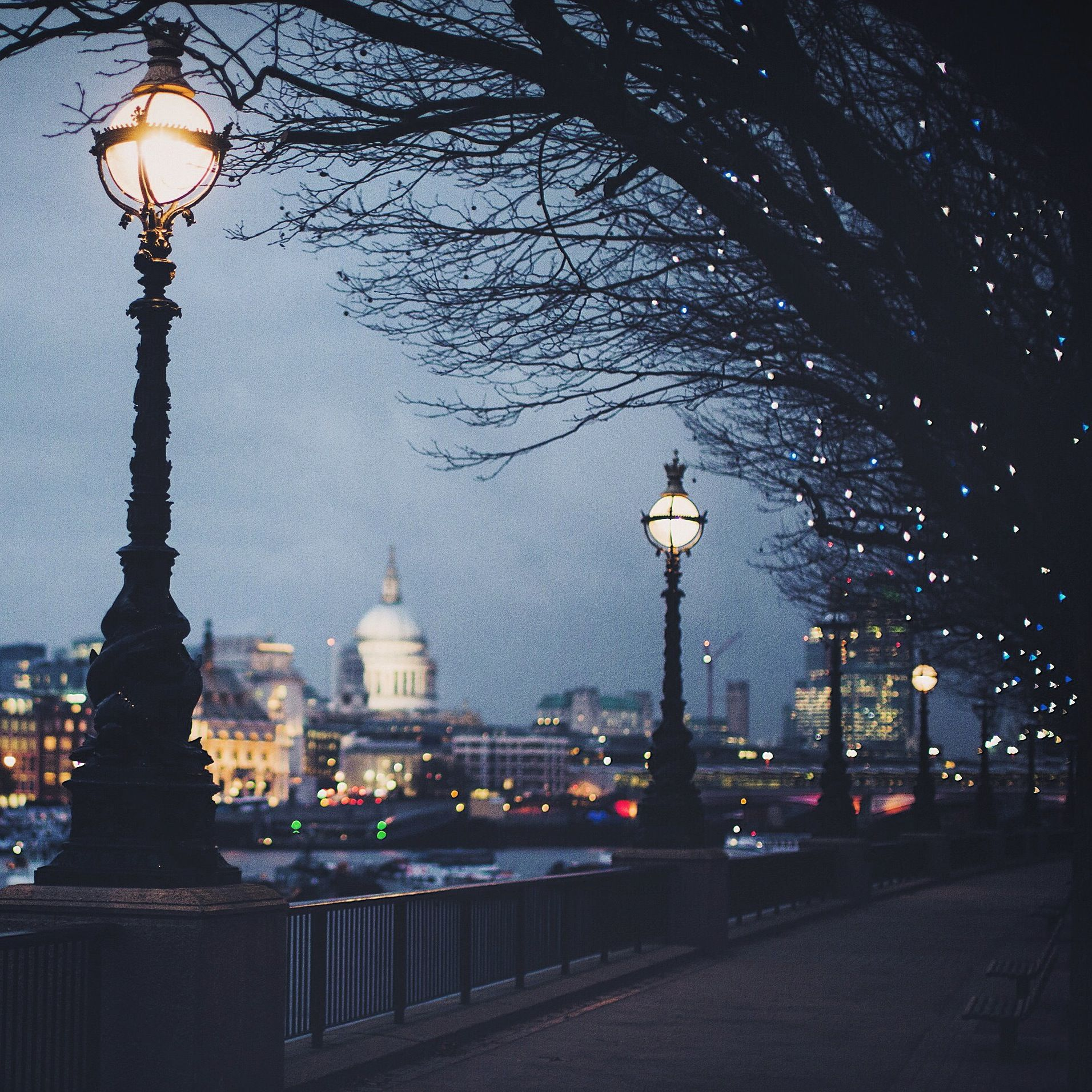 Festive twilight - the London skyline and St Paul's Cathedral captured from the South Bank