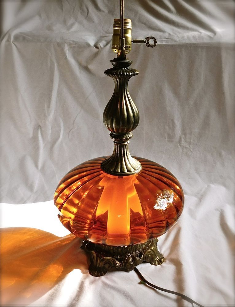 Vintage Mid Century Amber Glass Brass Lamp Hollywood Regency Base Lights Up Glass Lamp Base Lamp Brass Lamp