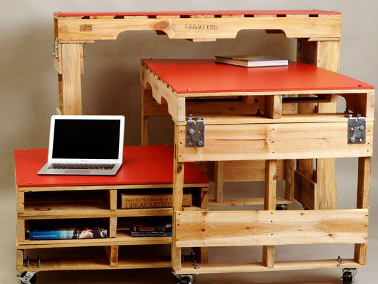 Studio Levant Uses Recycled Pallets And HDPE Plastics To Make Desks And  Tables