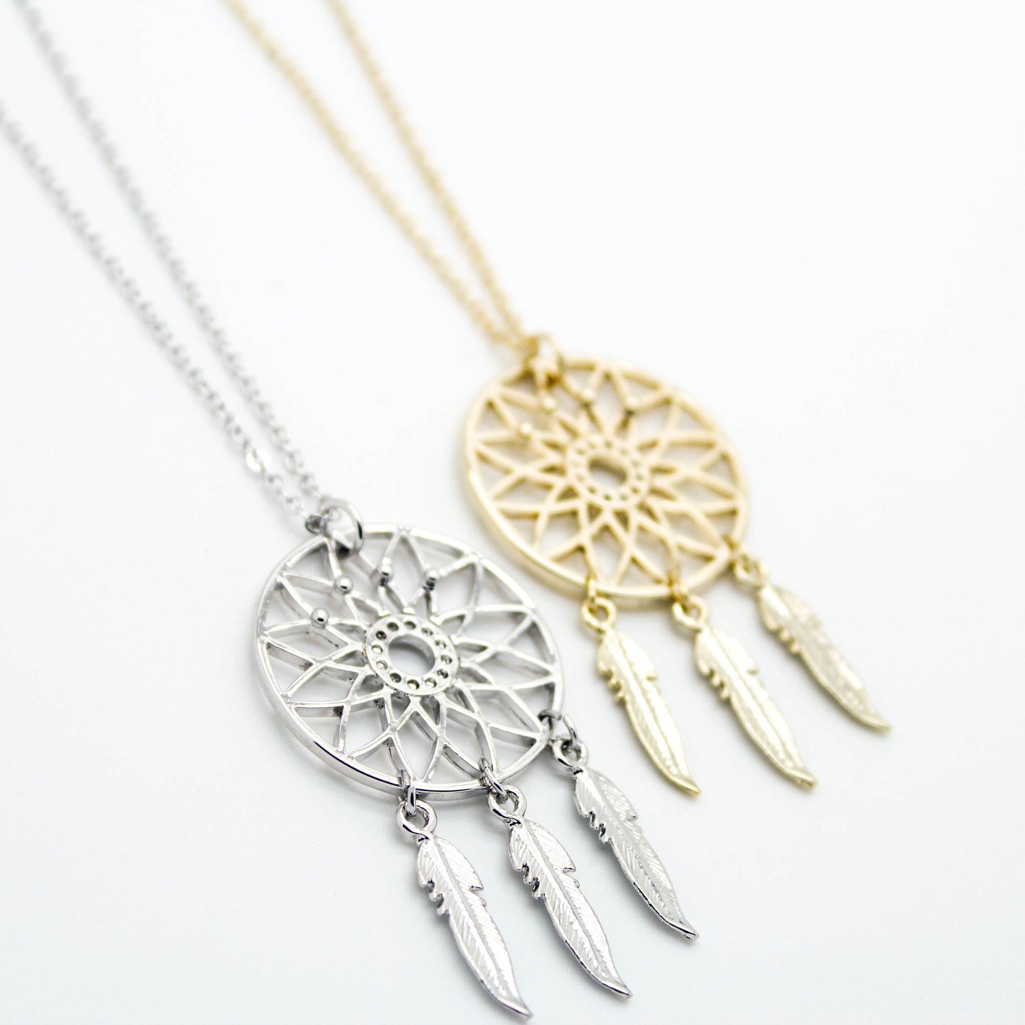 Dreamcatcher long necklace pendants gold and bling bling dreamcatcher long necklace aloadofball Choice Image