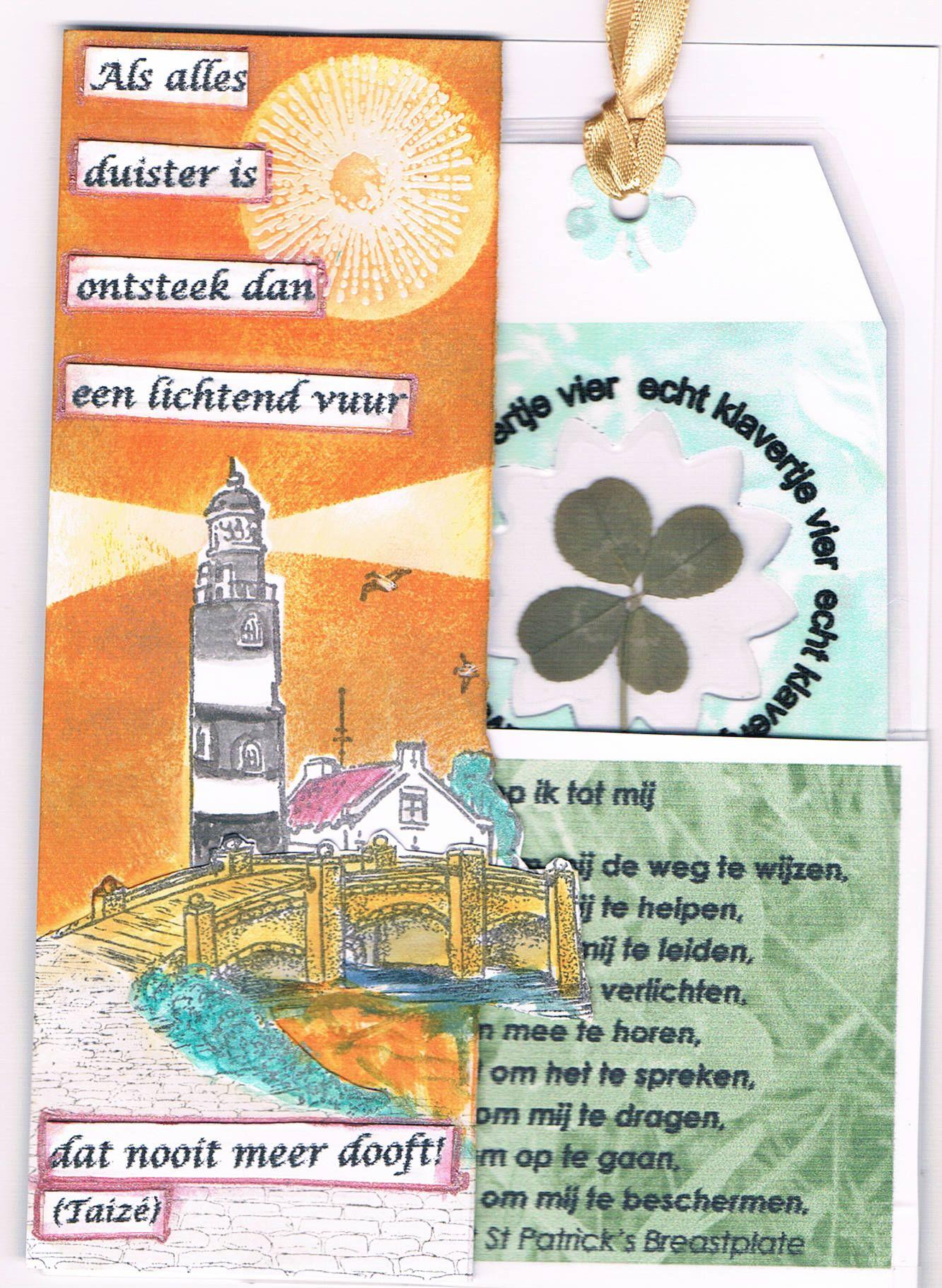 Willy Kamphuis zelfgemaakte kaart met echt klavertje 4.