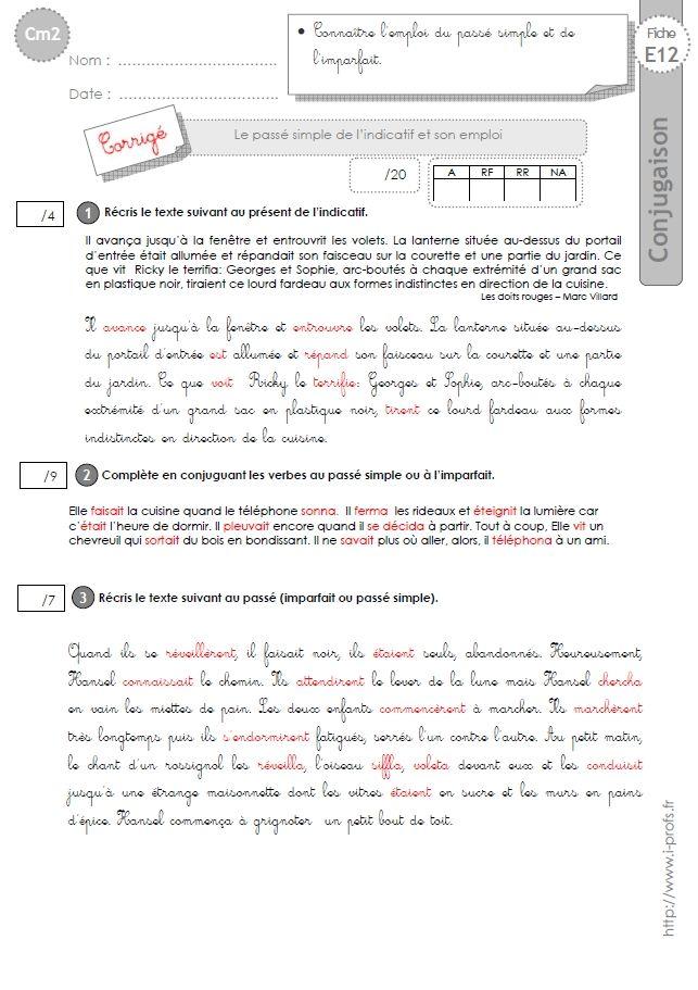CM2:EVALUATION CONJUGAISON corrigés Le passé simple et son emploi | Passé simple, Cm2 ...