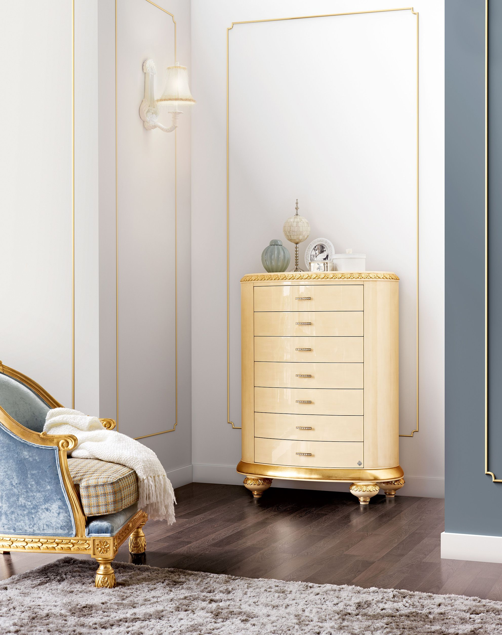 Venezia Tall Chest Of Drawers Jetclass Real Furniture Luxury  # Muebles Jetclass