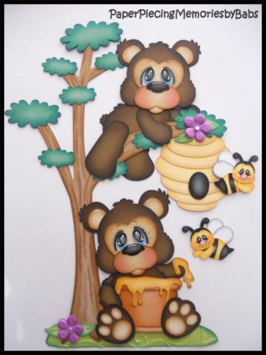 Premade-Paper-Pieced-Honey-Bear-Set-for-Scrapbook-Pages-by-Babs