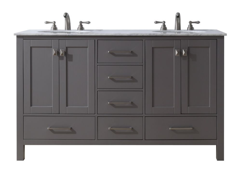 60 Inch Malibu Grey Double Sink Bathroom Vanity In 2020 Bathroom