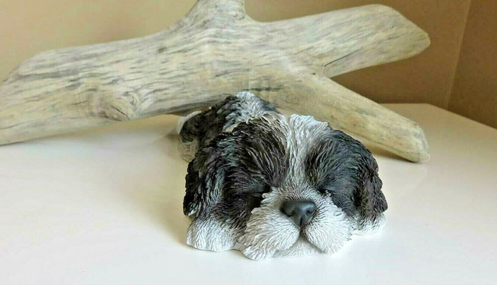 Terrier Yorkshire Resin Dog Animal Figurine Statue Puppy Home Lying Gift Lying