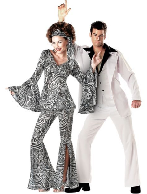 70 S Disco Fever Couples Costumes Classic Costumes Couples Costumes Couples Group Costumes Hallowe Disco Costume Disco Fashion Disco Costume For Women